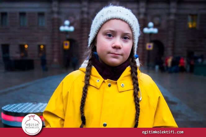Bazen örgülü saçlı bir kız dünyayı değiştirebilir, greta thunberg