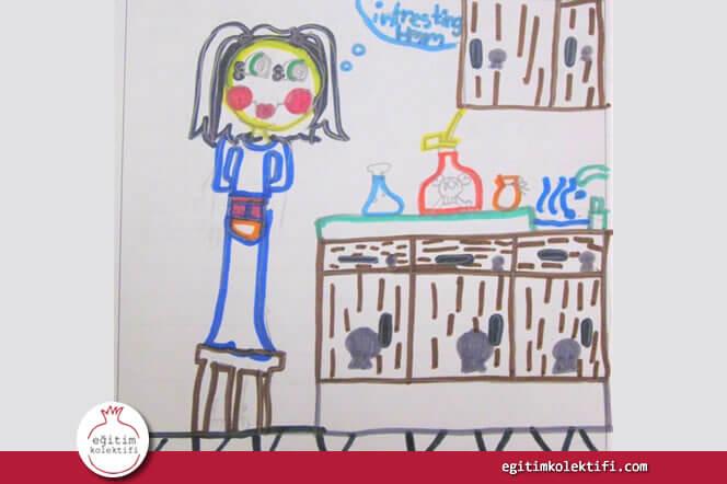 Leon Walls adlı öğrencinin çizdiği kadın bilim insanı resmi.