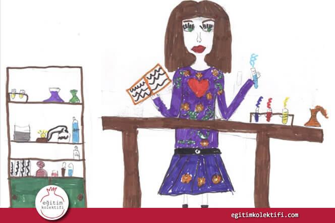 Vasila Christudou adlı öğrencinin çizdiği bilim kadını resmi.